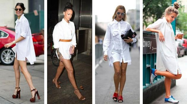 Camisa branca como vestido