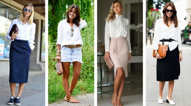 Camisa branca com saia