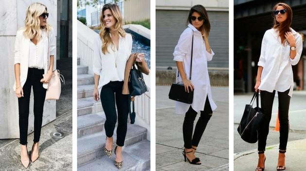 Camisa branca com calça legging