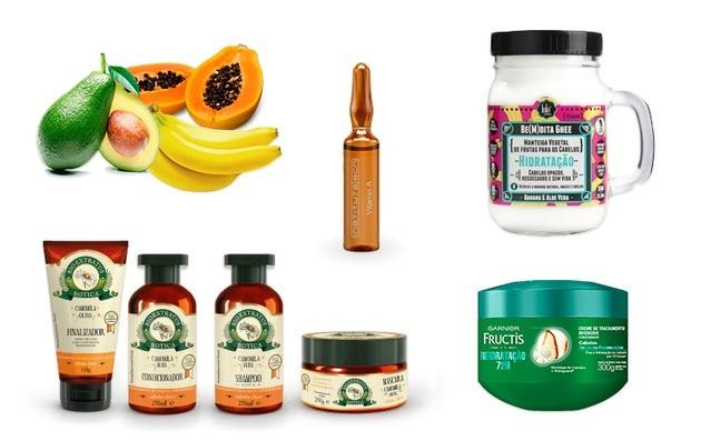 Hidratação frutas, extratos botânicos, vitaminas, cabelos cacheados