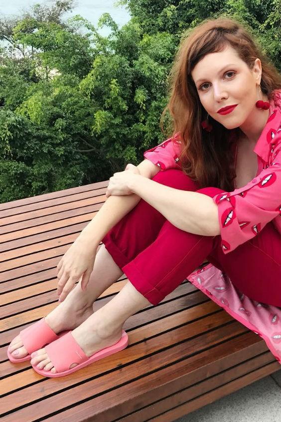 chinelo slide feminino rosa