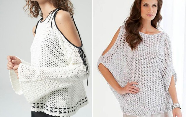 blusas crochê ombro vazado
