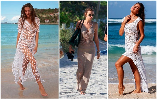 saída de praia de crochê estilo vestido longo