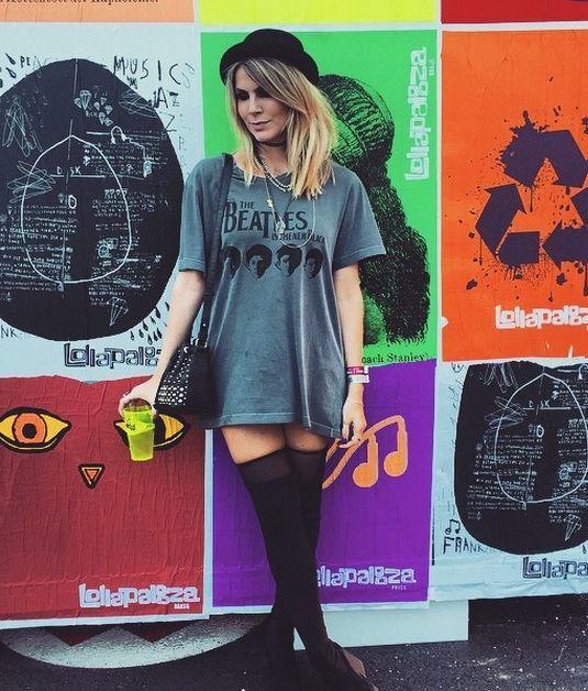 Looks para festivais de música: t-shirt de banda