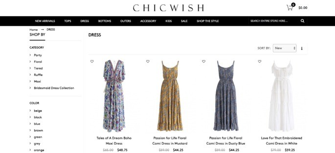 10 melhores sites de compra online: Chicwish