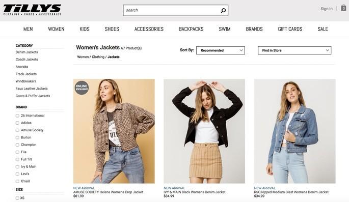 10 melhores sites de compra online: Tillys
