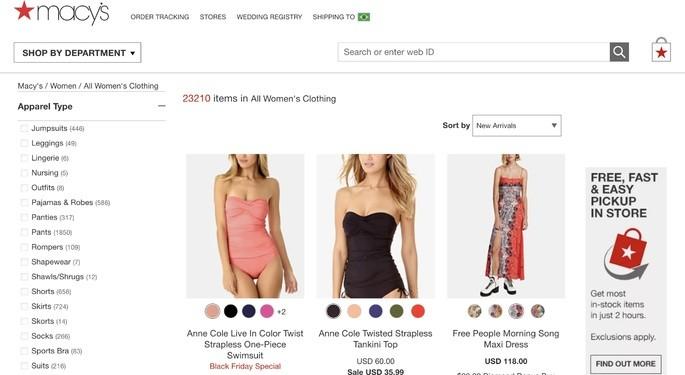 10 melhores sites de compra online: Macy's
