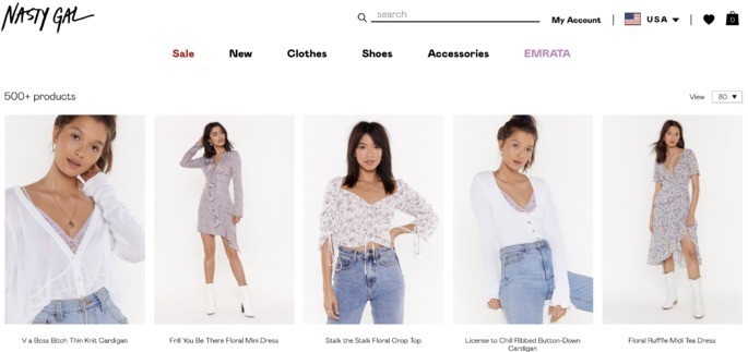 10 melhores sites de compra online: Nasty Gal